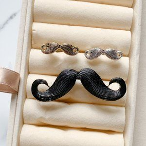 NEW 3-Pc Mustache Hipster Ring Bundle Jewelry Lot